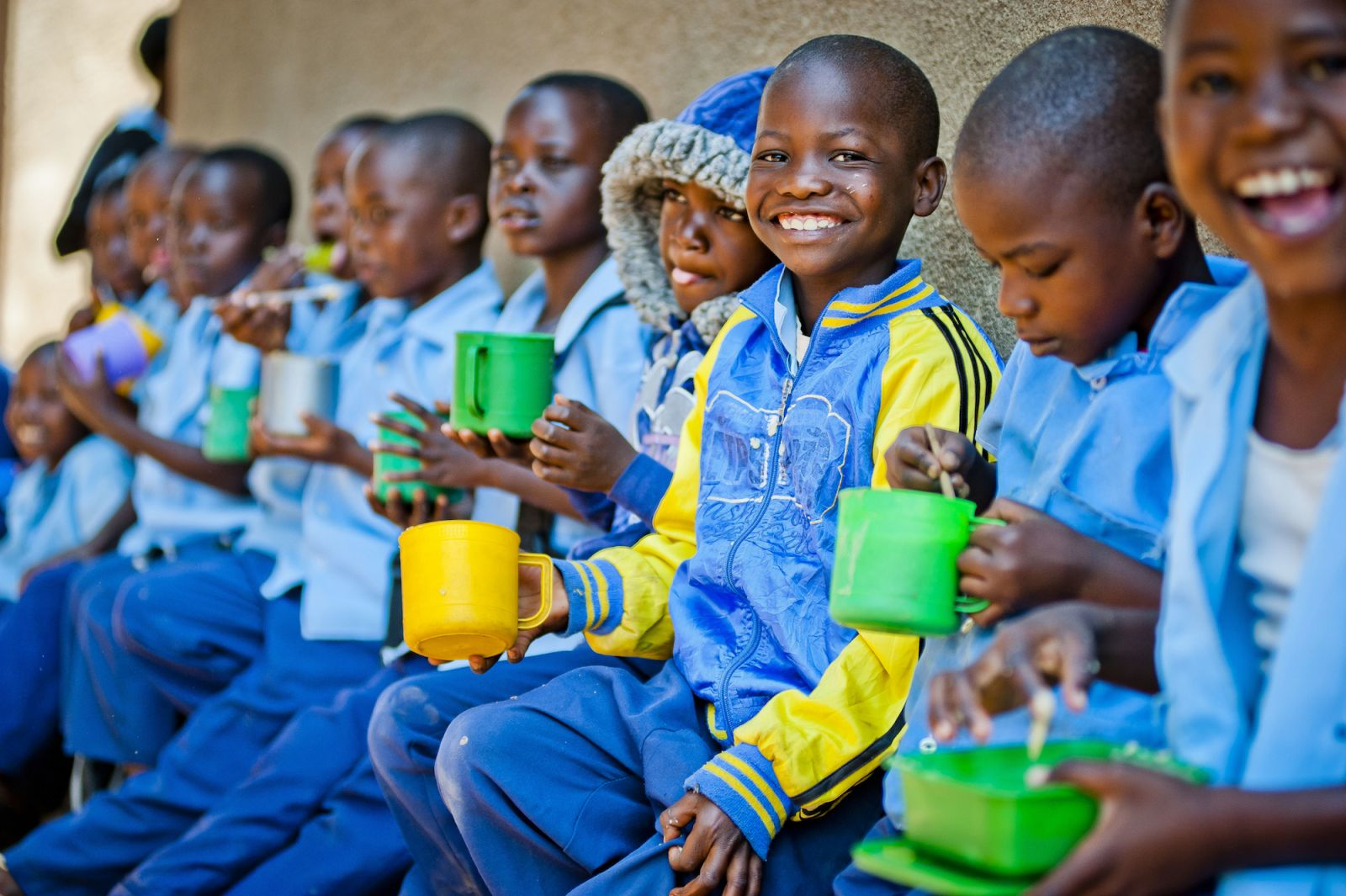 Zambian Children Eating in School