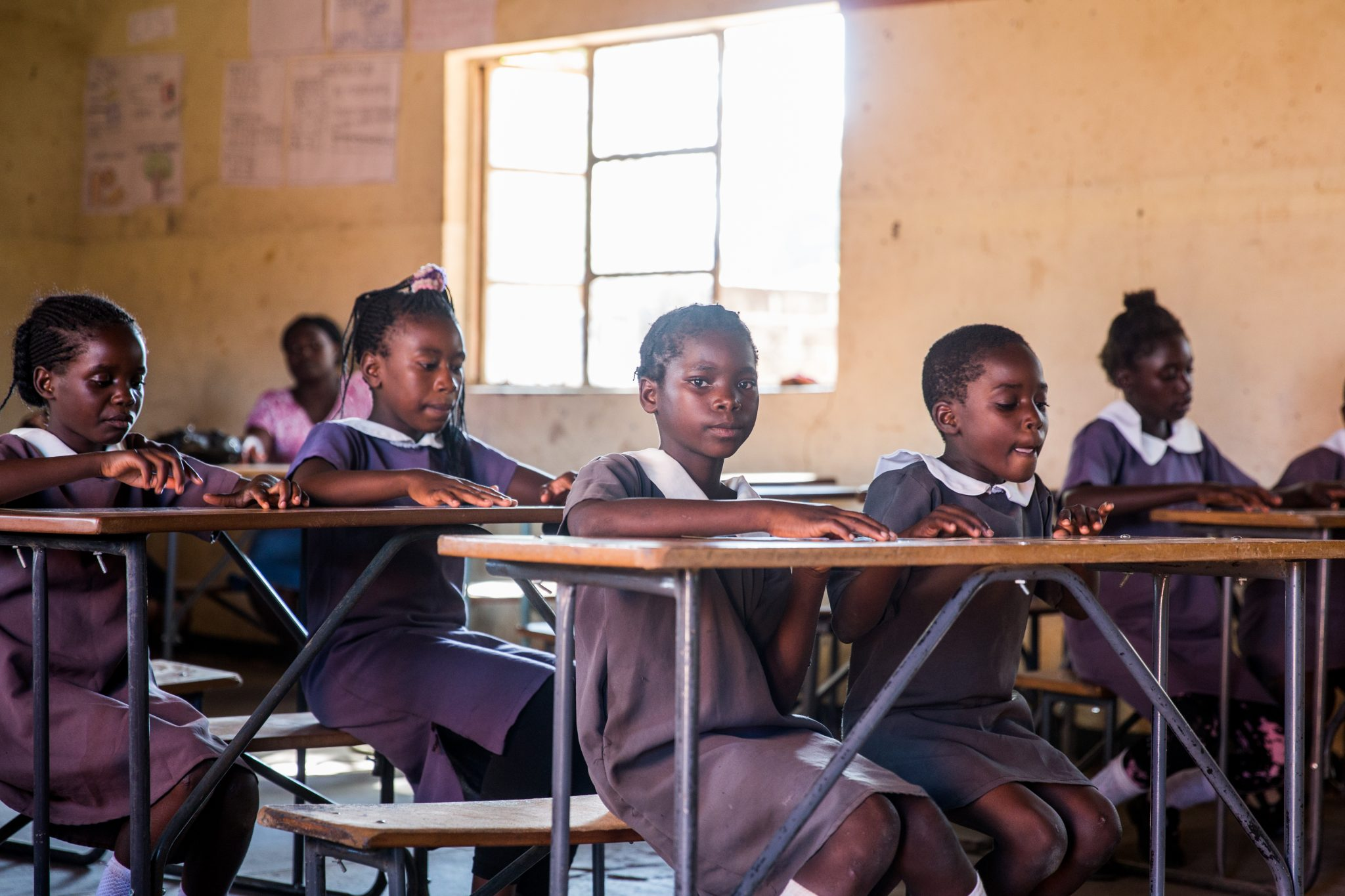 Zambia Girl's in Classroom in School