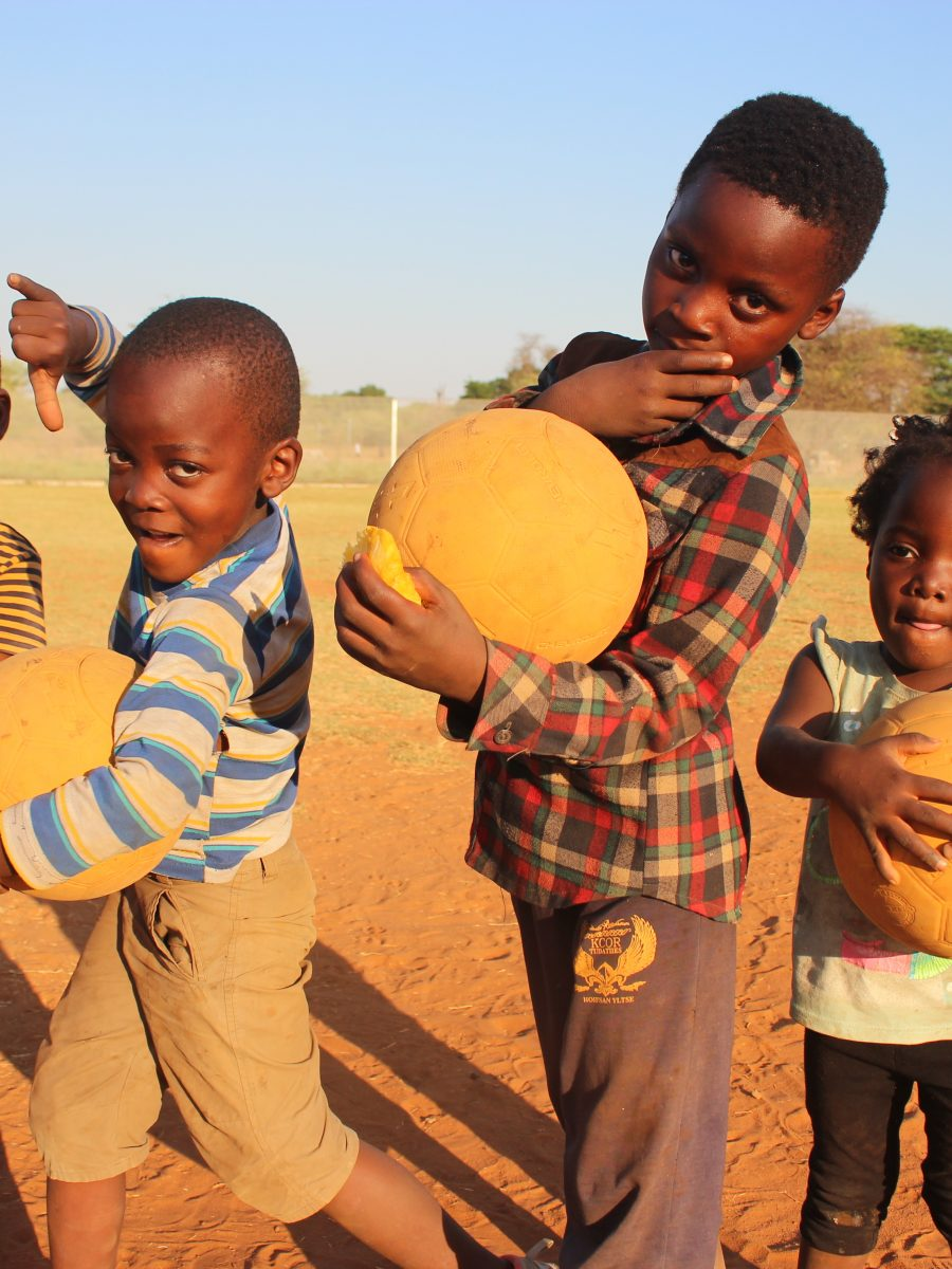 Zambian Children with Footballs